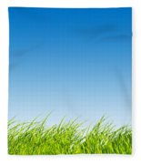Green Fresh Grass On Blue Sky Panorama. Fleece Blanket