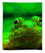 Green Frog Poster Fleece Blanket