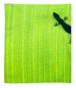 Green Gecko Leaf Fleece Blanket