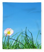 Green Grass And A Flower Fleece Blanket