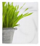 Green Grass In A Pot Fleece Blanket