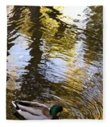 Green Head Mallard Duck Fleece Blanket