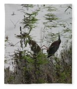 Green Heron At The Pond Fleece Blanket