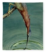 Green Heron Fleece Blanket