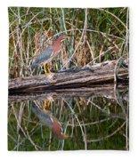 Green Heron Reflections Squared Fleece Blanket