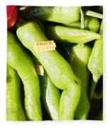 Green Jalpeno Peppers Fleece Blanket