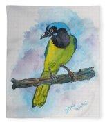 Green Jay Bird Texas Fleece Blanket