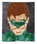 Green Lantern Superhero Portrait Recycled License Plate Art Fleece Blanket