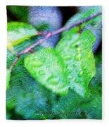 Green Leaf As A Painting Fleece Blanket