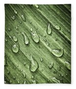 Green Leaf Background With Raindrops Fleece Blanket
