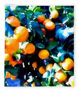Green Leaves And Mature Oranges On The Tree Fleece Blanket