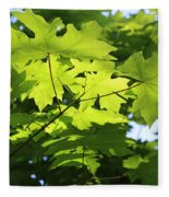Green Leaves Canvas Fleece Blanket