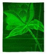 Green Negative Wood Flower Fleece Blanket