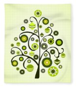 Green Ornaments Fleece Blanket