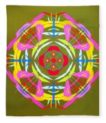 Green Pink Yellow Abstract Fleece Blanket