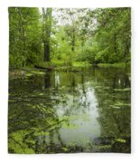 Green Blossoms On Pond Fleece Blanket
