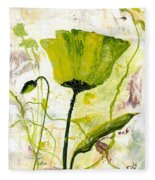 Green Poppy 003 Fleece Blanket