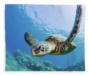 Green Sea Turtle - Maui Fleece Blanket