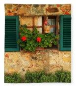 Green Shutters And Window In Chianti Fleece Blanket