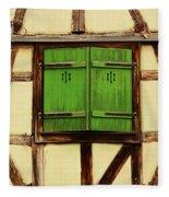 Green Shutters In Colmar France Fleece Blanket