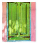 Green Shutters Pink Stucco Wall 2 Fleece Blanket