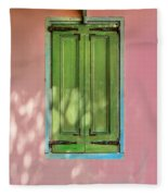 Green Shutters Pink Stucco Wall Fleece Blanket