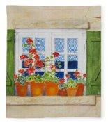 Green Shutters With Red Flowers Fleece Blanket