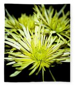 Green Spider Mums Fleece Blanket