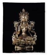 Green Tara Buddhist Goddess Statue Fleece Blanket