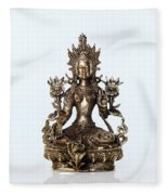 Green Tara Goddess Statue Fleece Blanket