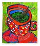 Green Tea In Red Cup Fleece Blanket