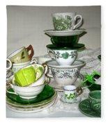 Green Teacups  Fleece Blanket