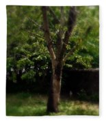 Green Tree In Park Fleece Blanket