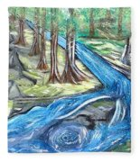 Green Trees With Rocks And River Fleece Blanket
