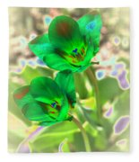 Green Tulips Fleece Blanket
