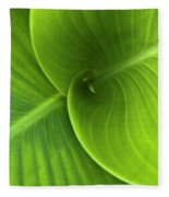 Green Twin Leaves Fleece Blanket