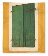 Green Window Shutters Fleece Blanket