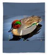 Green Winged Teal  Duck  Fleece Blanket