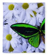 Green Wings In The Mums Fleece Blanket