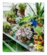 Greenhouse With Cactus Fleece Blanket