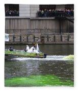 Greening The Chicago River For St Patrick's Day Fleece Blanket