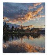 Greenlake Autumn Sunset Fleece Blanket