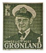 Greenland Stamp Circa 1950 Fleece Blanket
