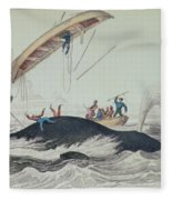 Greenland Whale Book Illustration Engraved By William Home Lizars  Fleece Blanket