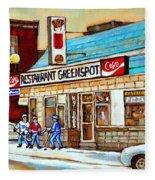 Greenspot Restaurant Notre Dame Street  South West Montreal Paintings Winter Hockey Scenes St. Henri Fleece Blanket