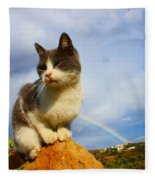 Grey Cat And Rainbow Fleece Blanket
