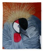 Grey Crowned Crane Fleece Blanket