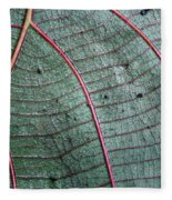 Grey Leaf With Purple Veins 2 Fleece Blanket