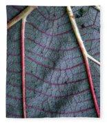 Grey Leaf With Purple Veins Fleece Blanket