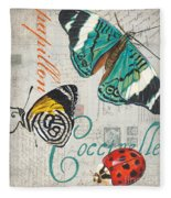 Grey Postcard Butterflies 2 Fleece Blanket by Debbie DeWitt
